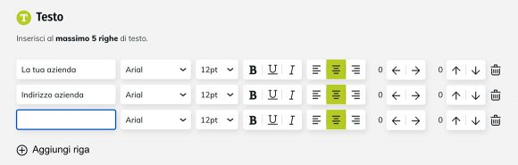 Configuratore online timbro - Inserisci testo