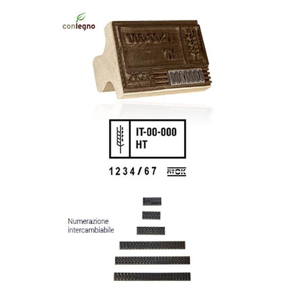 Timbro manuale di legno FITOK tipo 3L - 75x115mm